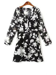 Flower Print V Neck Long Sleeve Chiffon Dress - Black L