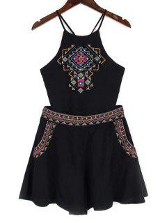 Backless Spaghetti Straps Tank Top And Embroidery Shorts Twinset - Black L