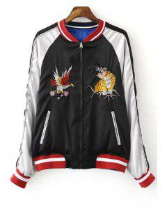 Embroidered Reversible Baseball Jacket - Blue And Black M