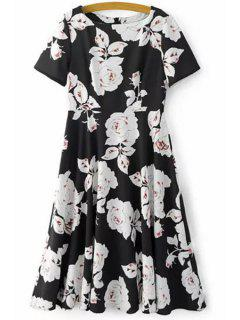 Fitting Rose Print Jewel Neck Short Sleeve Dress - Black L
