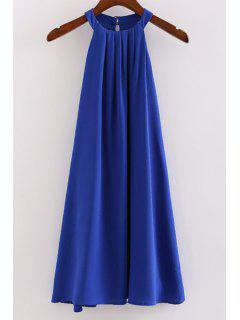 Sleeveless Round Collar Solid Color Dress - Blue M