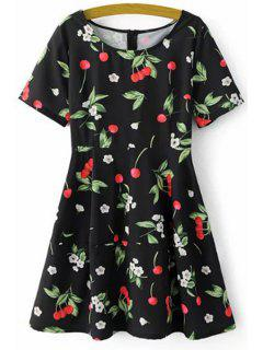 Fitting Cherry Print Round Neck Short Sleeve Dress - Black L
