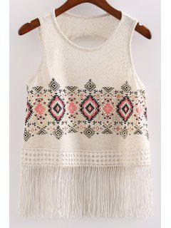 Back Cut Out Round Collar Embroidery Print Tank Top - Off-white L