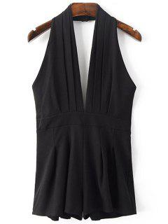 Backless Solid Color Plunging Neck Sleeveless Romper - Black Xl