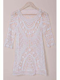 3/4 Sleeve Cut Out Crochet Cover-Up - White