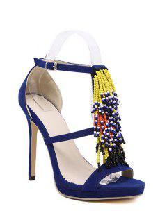 Colorful Beading Stiletto Heel Sandals - Blue 38