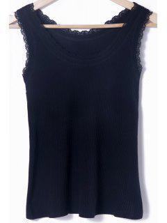 Solid Color Lace Splicing Scoop Neck Tank Top - Black