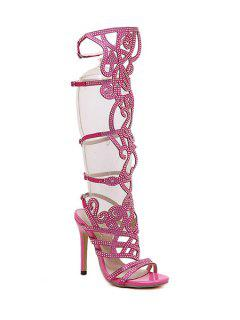 Rhinestone Hollow Out Stiletto Heel Sandals - Pink 39
