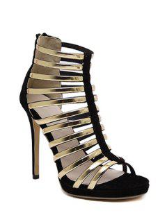 Splicing Color Block Stiletto Heel Sandals - Black 39