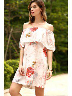 Vestido Fuera Del Hombro Con Volantes De Flores - Rojo Xl
