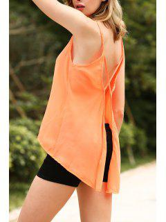 Solid Color Cut Out Spaghetti Straps Sleeveless Tank Top - Orangepink L