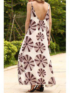 Circle Print Cami Backless Maxi Dress - L