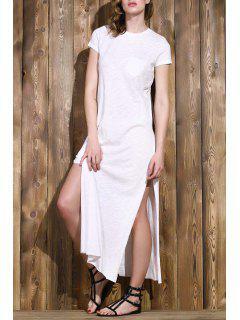Vestido De Manga Corta De Color Sólido De La Raja Del Lado De Cuello Redondo - Blanco L