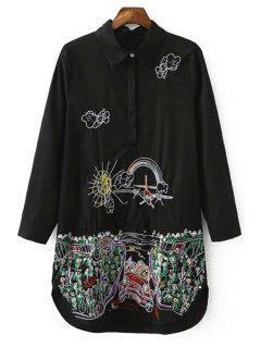Scrawl Pattern Long Shirt - Black L