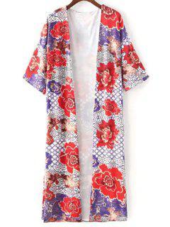 Kimono De Manga Ampliación De Foto Blusa De Flores - L