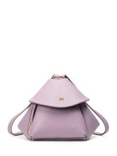 Bow Solid Color PU Leather Satchel - Purple