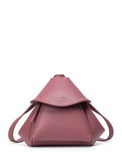 Bow Solid Color PU Leather Satchel - Pink