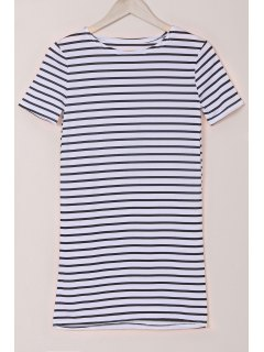 Stripes Round Collar Short Sleeve Dress - White And Black L