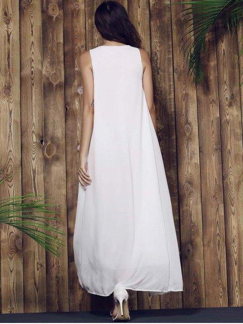 ladies Lace Yoke Maxi Chiffon Beach Dress - WHITE L Mobile