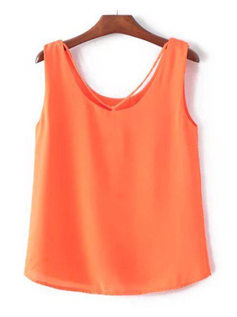 Freizeit-Shirt-Kragen-Normallack Chiffon Tank Top für Frauen - Roter Zirkon L Mobile