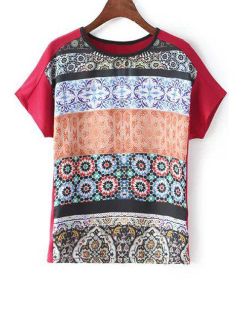 buy Fitting Printed Round Neck Short Sleeve T-Shirt - RED S Mobile