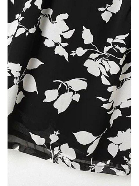 online Flower Print V Neck Long Sleeve Chiffon Dress - BLACK L Mobile