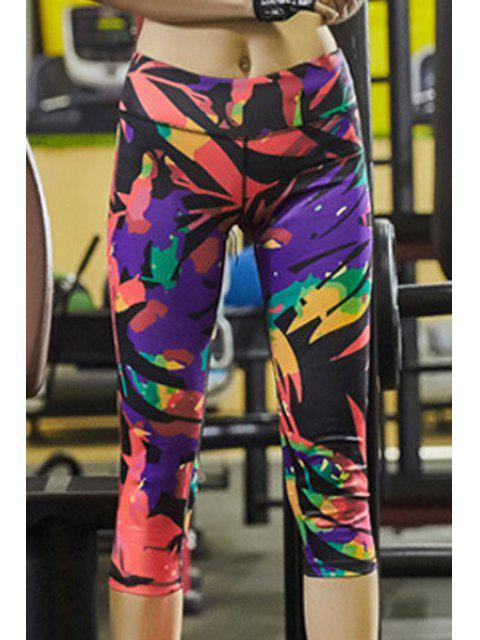 women Printed Running Capri Leggings -   Mobile