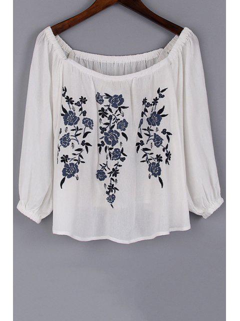 Blumenstickerei mit rundem Halsausschnitt 3/4 Ärmel Bluse - Weiß L Mobile