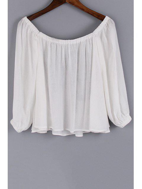 hot Floral Embroidery Scoop Neck 3/4 Sleeve Blouse - WHITE S Mobile