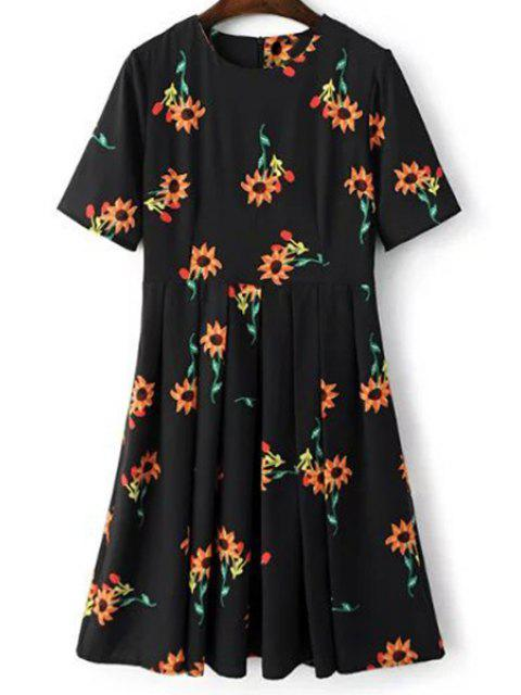 outfits Fitting Sunflower Print Jewel Neck Short Sleeve Dress - BLACK L Mobile
