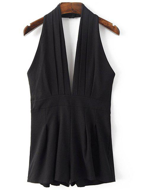 fancy Backless Solid Color Plunging Neck Sleeveless Romper - BLACK M Mobile