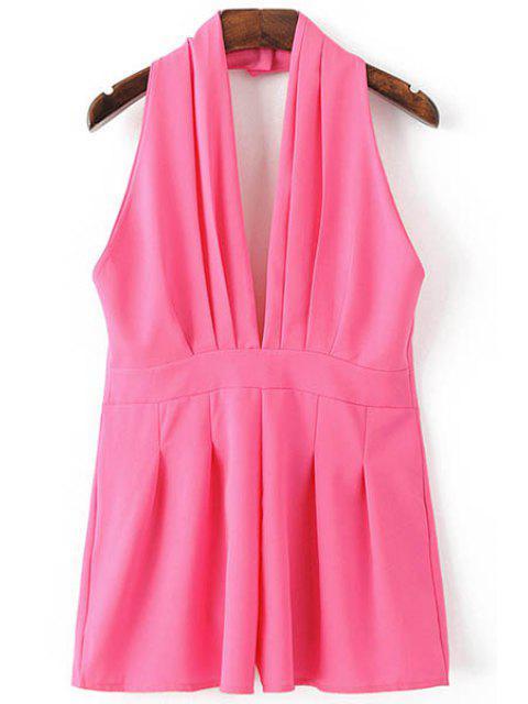shops Backless Solid Color Plunging Neck Sleeveless Romper - ROSE S Mobile