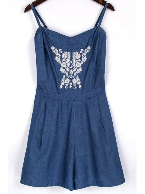 outfit Embroidery Spaghetti Straps Chambray Romper - BLUE S Mobile