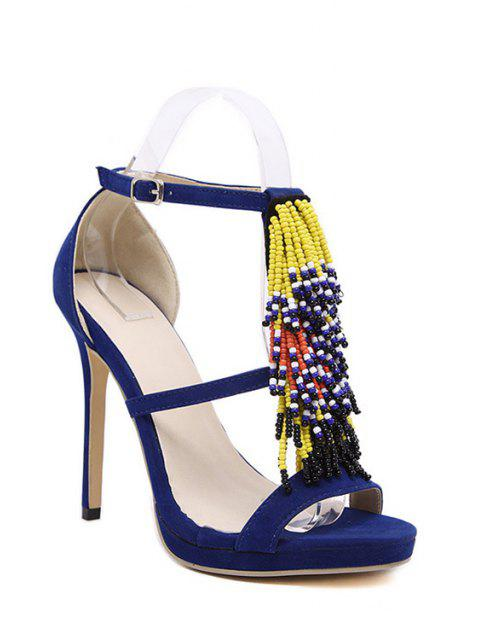 fashion Colorful Beading Stiletto Heel Sandals - BLUE 38 Mobile