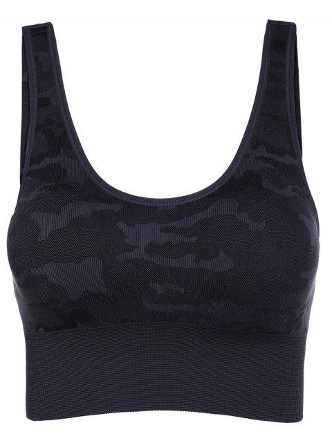 chic Camouflage Graphic Sport Bra - GRAY S Mobile