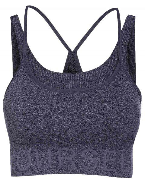 fancy Letter Pattern Grey Sport Bra - DEEP GRAY S Mobile