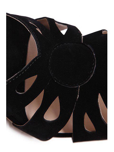 fashion Hollow Out Peep Toe Black Sandals -   Mobile