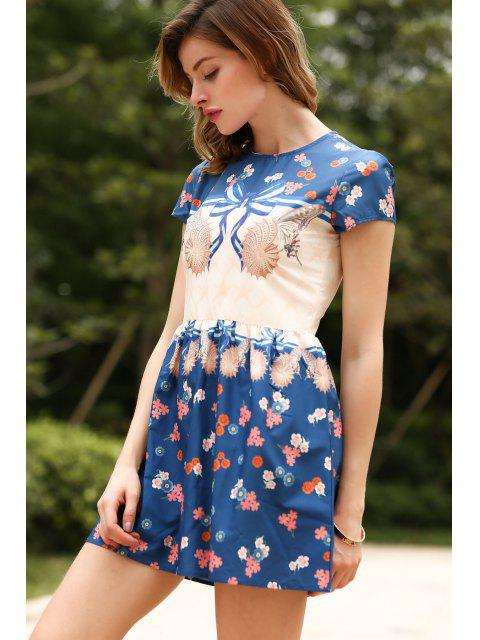 shop Short Sleeve Printed Dress - COLORMIX S Mobile