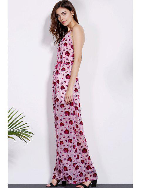 shop Floral Print Spaghetti Straps Dress - RED M Mobile