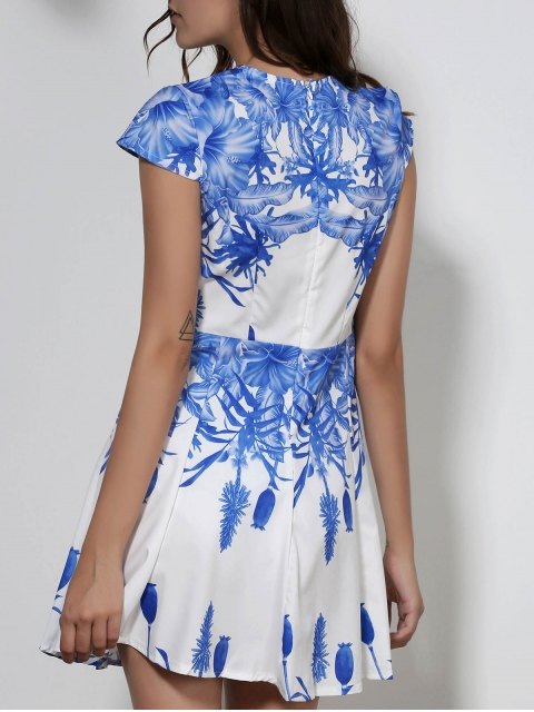 shops Plunging Neck Blue Floral Print Dress - WHITE XL Mobile