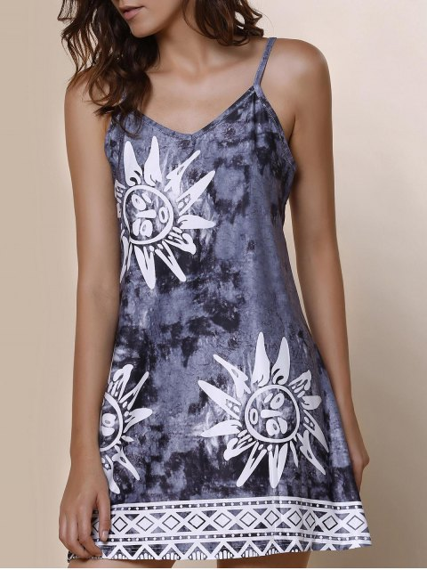ladies Spaghetti Strap Argyle Sun Print Dress - GRAY L Mobile