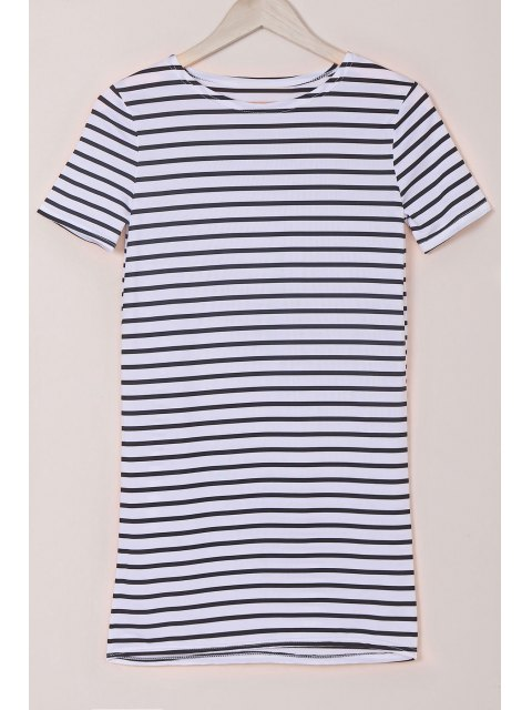 trendy Stripes Round Collar Short Sleeve Dress - WHITE AND BLACK M Mobile