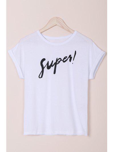 Letter Round Neck Short Sleeves T-Shirt - White