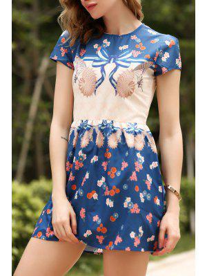 Short Sleeve Printed Dress - S