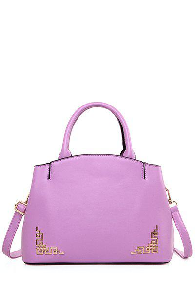 Solid Colour Metal PU Leather Tote Bag - PURPLE