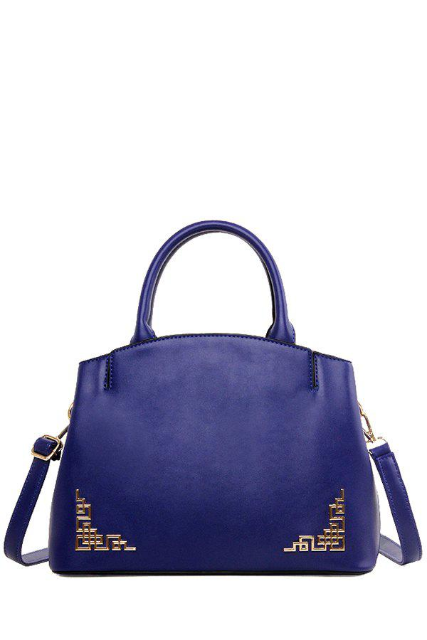 Solid Colour Metal PU Leather Tote Bag - BLUE