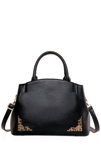 Solid Colour Metal PU Leather Tote Bag - BLACK