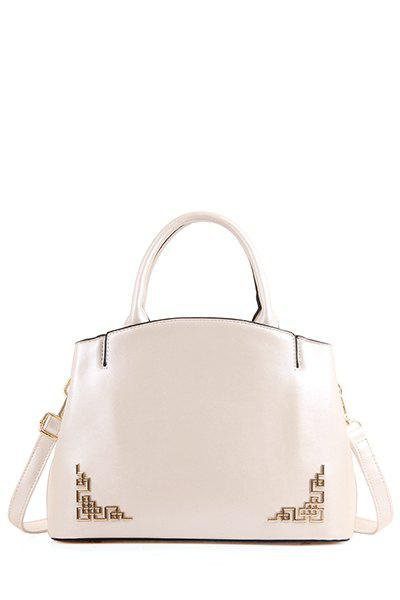 Solid Colour Metal PU Leather Tote Bag - WHITE