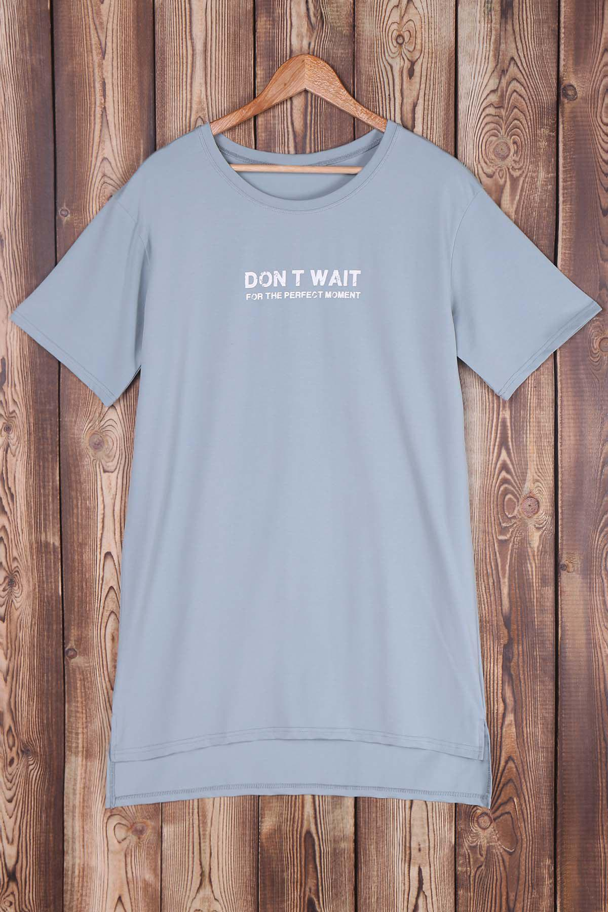 High-Low Letter Print Jewel Neck Short Sleeve T-Shirt - GRAY ONE SIZE(FIT SIZE XS TO M)