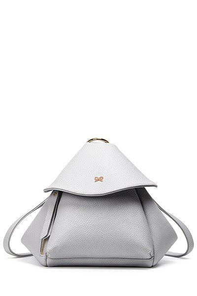 Bow Solid Color PU Leather Satchel - LIGHT GRAY